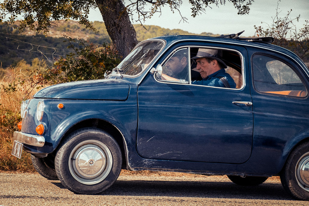 Ciarán Hinds picks up a hitchhiking priest in The Man In The Hat © Photo: Ross Ferguson