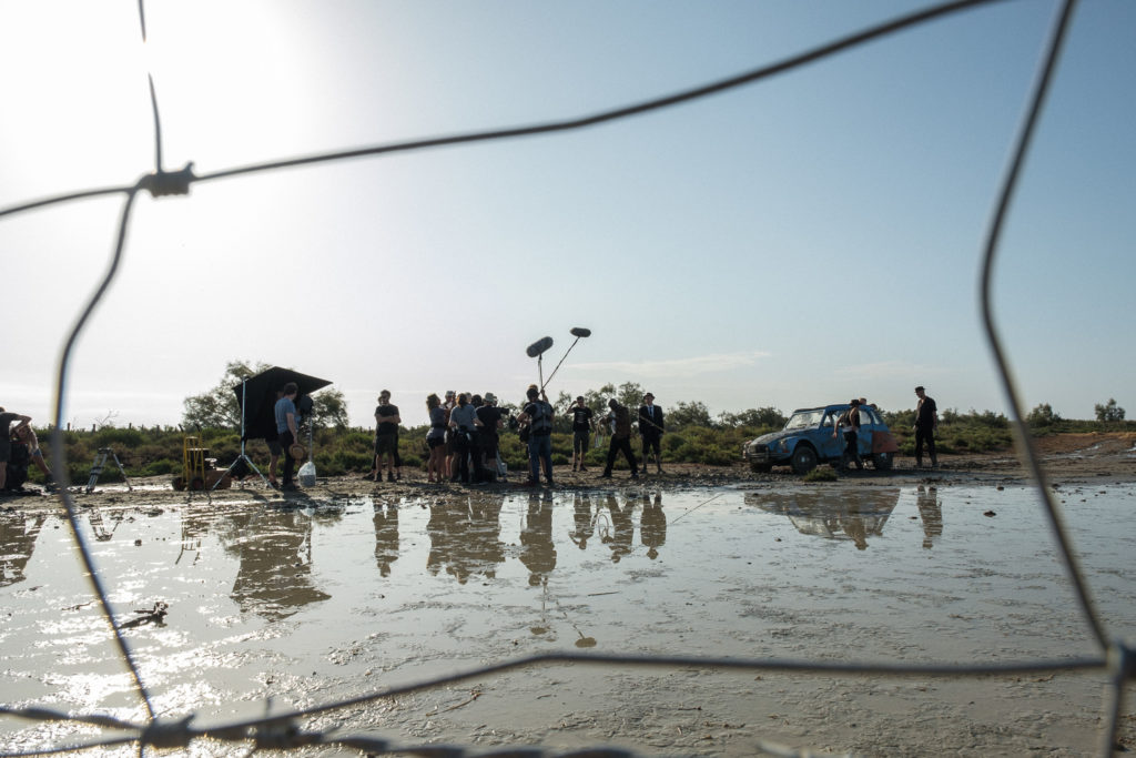 A Citröen escapes the mud during the shoot for The Man In The Hat © Photo: Ross Ferguson
